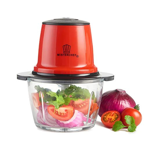 MisterChef® Red Mini Chopper Mini Food Processor 3 bi-Level Blades - Energy Saver 200W with Turbo - 1.5L Food Capacity Glass Bowl - 2 Year Warranty - Metallic Red - iBuy Africa