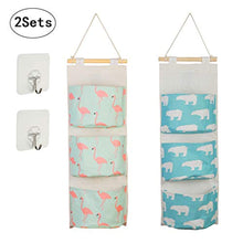 Load image into Gallery viewer, KAKOO 2pcs Cartoon Pattern Hanging Storage Bag Waterproof Cotton Closet Wall Door Storage with 3 Pockets and 2 Pcs Self Adhesive Hooks for Kitchen Bedroom Bathroom Office - iBuy Africa