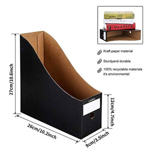 HINATAA File Magazine Holder,5 PCS Kraft Paper Magazine Rack Files Folder,Storage Organiser Sorter Storage Shelf Excellent for School Dormitory,Office,Home Files Storage (Black) - iBuy Africa