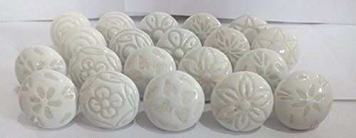 20 X Mix Vintage Look White Creame Creme Flower Ceramic Knobs Door Handle Cabinet Drawer Cupboard Pull - iBuy Africa