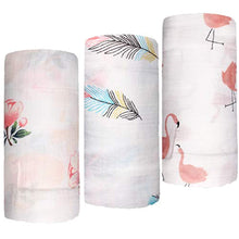 "Load image into Gallery viewer, Bamboo Muslin Swaddle Blankets- 3 Pack""Floral & Flamingo & Feather Print"" Baby Swaddle Wrap for Baby Shower Gift - iBuy Africa"