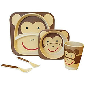Children's 5 Pcs Bamboo Dinner Set Shopwithgreen Kids Board Food Plate Bowl Cup Spoon Fork Set Dishware Cartoon Tableware Eco Friendly, BPA Free and Dishwasher Safe Kids Healthy Mealtime(Monkey) - iBuy Africa