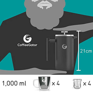 Coffee Gator Cafetiere Coffee Maker - Less Sediment, Hotter-for-Longer, Thermal French Press Brewer - Large Capacity, Double-Wall Insulated Stainless Steel - 1 Litre - Grey - iBuy Africa