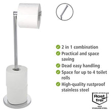 Load image into Gallery viewer, WENKO 19637100 Free-standing toilet roll holder 2 in 1, Stainless steel, 17 X 21 X 55 cm, Shiny - iBuy Africa