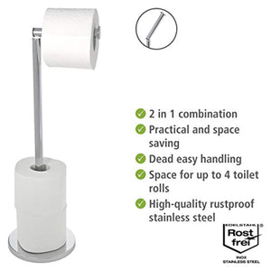 WENKO 19637100 Free-standing toilet roll holder 2 in 1, Stainless steel, 17 X 21 X 55 cm, Shiny - iBuy Africa