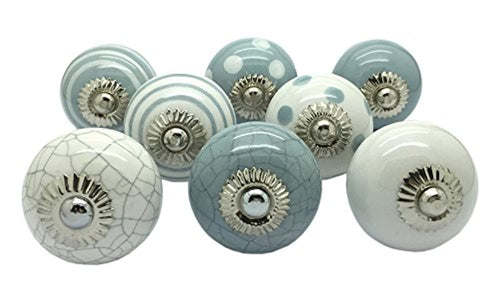 G Decor Set of 8 Grey & White Ceramic Door Knobs Vintage Shabby Chic Cupboard Drawer Pull Handles - iBuy Africa
