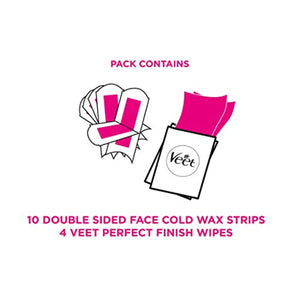 Veet Face Cold Wax Strips for Sensitive Skin, 10 Double Sided Strips, Pack of 20 - iBuy Africa