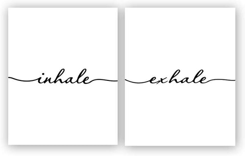 "KARTME Inhale Exhale Art Print Set Of 2 (10""X8"", Meditation Art Print, Black And White Yoga Wall Art Prints,Modern Zen Print, Canvas Wall Art Poster For Bedroom Home Decor, No Frame - iBuy Africa"