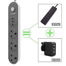 Load image into Gallery viewer, Joyguard Extension Lead with USB, 3 USB Ports 3 Way Outlets Power Strips with USB Surge Protection Plug Extension 1.6 Meter Extension Cord Power Extension Lead (3 USB 3.1A) - iBuy Africa