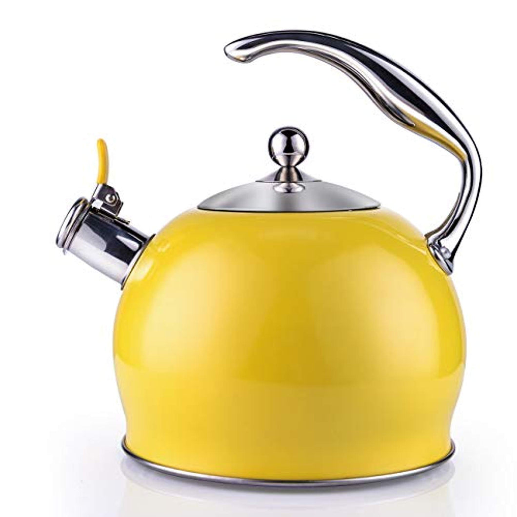 SUSTEAS Tea Kettle Best 2.6 Liter Induction Modern Stainless Steel Surgical Whistling Teapot -Tea Pot for Stove Top (Yellow) - iBuy Africa