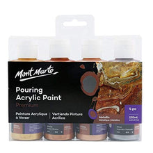 Load image into Gallery viewer, Mont Marte Premium Acrylic Pouring Paint Set, Metallic, 4 x 4oz (120ml) Bottles, Pre-Mixed Acrylic Paint, Suitable for a Variety of Surfaces Including Stretched Canvas, Wood, MDF and Air Drying Clay. - iBuy Africa