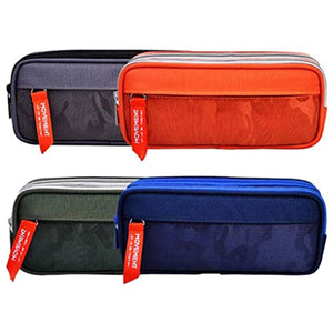 Maomaoyu Large Capacity Pencil Case for Boys and Girls, Zippered Triple Pocket Lightweight Waterproof Canvas Pencil Cases, Navy Blue - iBuy Africa