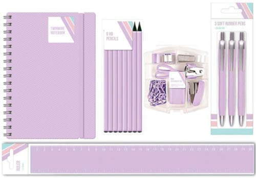 Blok Pastel Stationery Set - Pencils, Pens, Ruler, A5 Notebook & Desk Mini's - Purple - iBuy Africa
