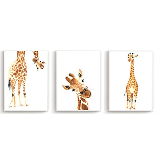 Giraffe Nursery Wall Poster Set for Baby Bedroom - Childrens Room Furniture Boys and Girls (Set of 3 A4 - Posters) - iBuy Africa