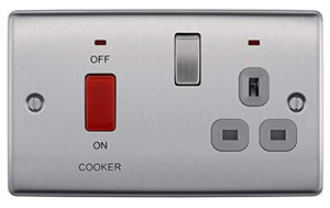 BG Electrical Switched Cooker Control Unit with a Power Indicator and Socket, 45 Amp, Brushed Steel - iBuy Africa