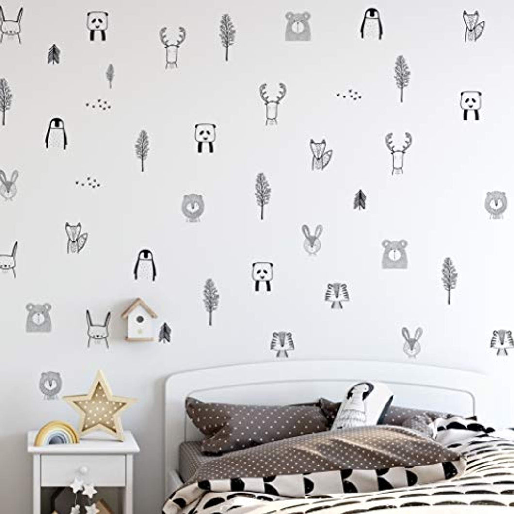 Animal Wall Stickers for Kids Bedrooms, Nursery, Baby Room, Play Room, Kids Room – Stylish Safari, Woodland Animal, Jungle, Tree Wall Stickers for Baby Nursery. Black and White Bedroom Stickers- Homeware - iBuy Africa