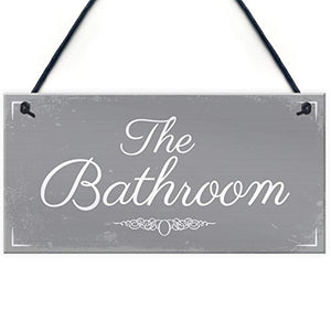 RED OCEAN 'THE BATHROOM' Shabby Chic Hanging Door Sign Plaque Sign for Toilet or Bathroom The Loo Home Decor - iBuy Africa