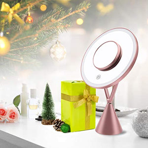 "Morstone Makeup Mirror, 8.2"" Large 1X Vanity LED Makeup Mirror with Lights, Dimmable Touch Screen, Three Lighting Colors, 45 Degree Rotation, USB Power Table Mirror with 5X Small Magnifying Mirror - iBuy Africa"