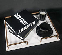 Load image into Gallery viewer, PuTwo Decorative Tray, Perfume Tray, Marble Print PU Leather Tray with Copper-Coloured Metal Handles, Handmade Vanity Tray, Jewellery Tray, Catchall Tray, Trinket Tray for Dresser Vanity Table - iBuy Africa