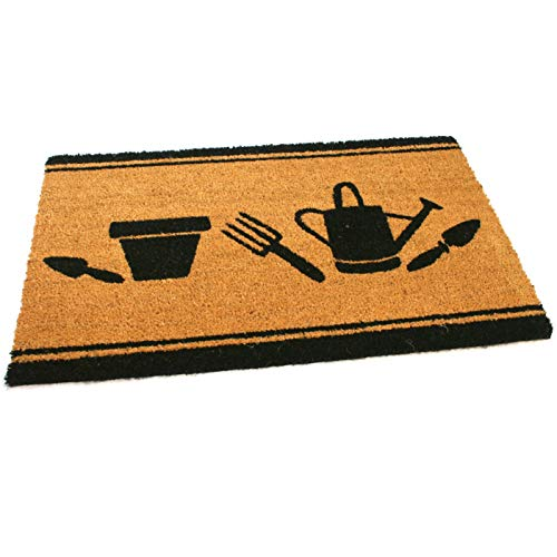 Black Ginger Large, Thick, Decorative, Patterned Coir Door Mats with Nature Designs Garden - iBuy Africa