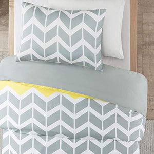 Nadia Single Size Bedding Set, Fashion Chevron Printed Duvet Cover and 1 x Pillowcase Trendy Quilted Bedspread, Yellow/Grey - iBuy Africa