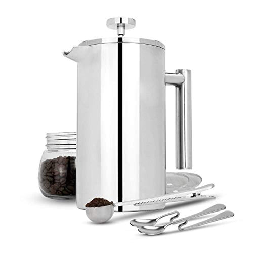 French Press Cafetiere | Stainless Steel Coffee Press Maker | FREE Extra Filters / Measuring spoons / Bag Clip | Double Walled Insulation | 7pc Coffee Gift Set | M&W (1000ml) - iBuy Africa