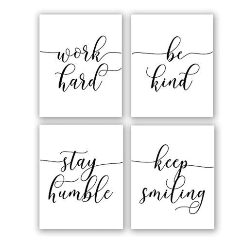 "Inspirational Quote&Saying Art Painting,Work Hard,Be Kind,Stay Humble,Keep Smiling Art Print Set of 4 (8""X10"" Canvas Picture,Motivational Phrases Wall Art for Office or Living Room Home Decor,No Frame - iBuy Africa"