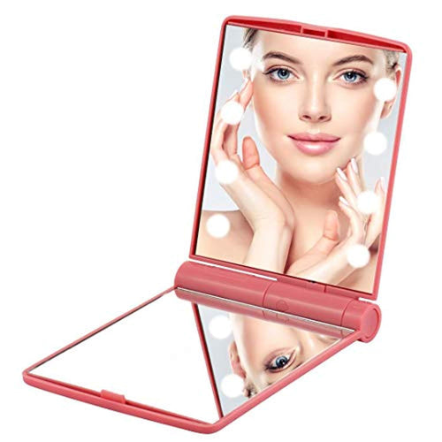 Portable Makeup Mirror With Light 8 LED Dimmable Mirror Cosmetic Illumination Handbag Fold-able Double Face Magnifying Small Compact Mirror (Pink Blue White) - iBuy Africa