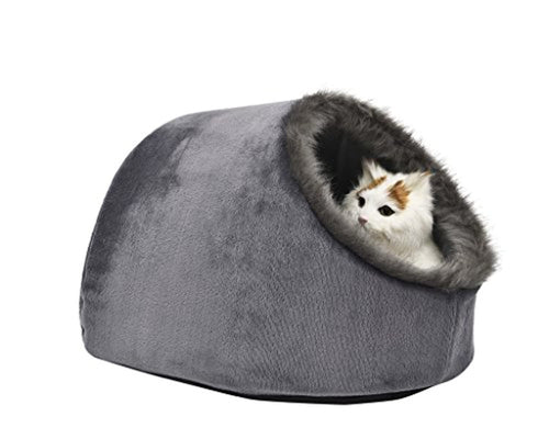 VERTAST Cat Small Dog Cosy Bed Pets Igloo Bed Hideout Cave, Cushion Washable, grey - iBuy Africa