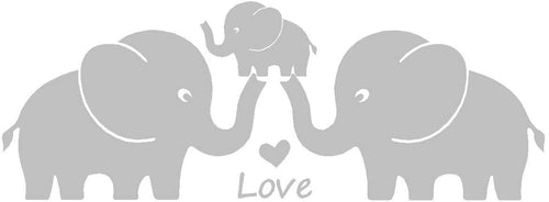 Three Cute Elephants Family Wall Decal Love Hearts Family Words Baby Elephant Vinyl Wall Decal Sticker for Baby Nursery Room Decor (Large 48
