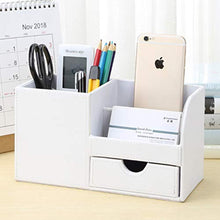 Load image into Gallery viewer, KINGFOM Desk Organiser Tidy Caddy Leather Pen Pencil Pots Holder Stationery Storage Office Desktop Supplies Organisers with Drawer White - iBuy Africa