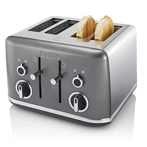 Breville Lustra 4-Slice Toaster with High Lift, Wide Slots and Independent 2-Slice Controls, Storm Grey, candy red and shimmer cream [VTT853] - iBuy Africa