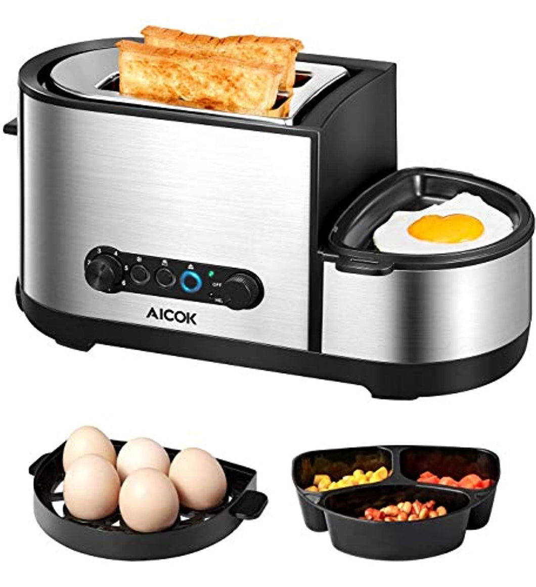 Toaster, Aicok 5-in-1 Toaster with Egg Boiler and Poachers, 2 Slice Toaster with Mini Frying Pan, Steamer - iBuy Africa