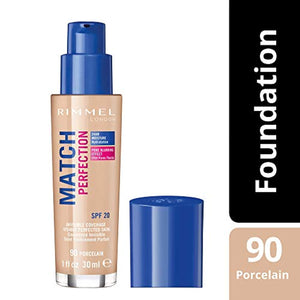 Rimmel London Match Perfection Liquid Foundation, Hydrated And Radiant glowing Effect With Smart-Tone Technology And Spf 20 Formula, 90 Porcelain - iBuy Africa