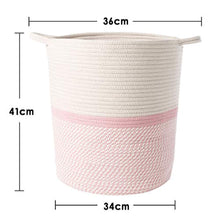 Load image into Gallery viewer, INDRESSME Cotton Rope Basket Pink for Baby Nursery Room | Cute Kids Laundry Hamper | Blanket Basket, Toy Chest Soft, Bottom | Woven Basket - iBuy Africa