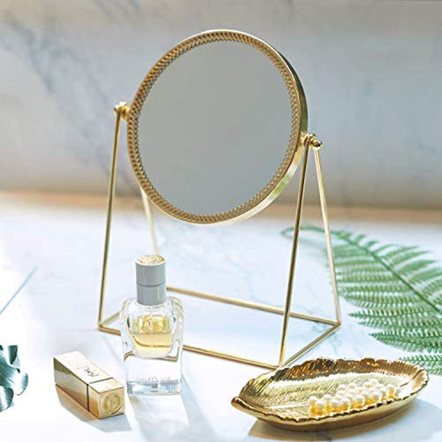 PuTwo Makeup Mirror Single Sided Vanity Mirror Vintage 360° Rotation Metal Table Mirror Round Cosmetic Mirror Handmade Make Up Mirror for Dresser Vanity Table Desk - Champagne Gold - iBuy Africa
