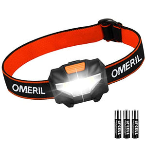 OMERIL LED Head Torch, Lightweight COB Headlamp with 3 Modes, IPX4 Waterproof, Super Bright 150 Lumens LED Headlight [3*AAA Batteries Included] - iBuy Africa