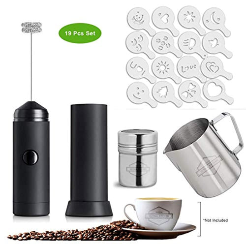 Indoor Ultima High Powered Milk Frother for Coffee Art Multifunctional Electric Handheld Battery Operated Whisk 19pcs Set - iBuy Africa