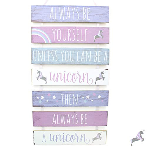 Carousel Home and Gifts 7 Tier Hanging Wooden Unicorn Plaque Sign - iBuy Africa