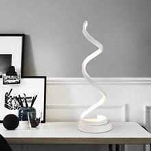 Load image into Gallery viewer, Dimmable LED Bedside Table Lamp, Remote Control Spiral Table Lamps Modern Curved LED Desk Lamp, 12W Warm White Light Minimalist Night Stand Reading Light for Office, Bedroom Living Room, White - iBuy Africa