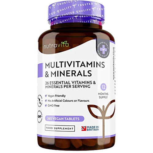 Multivitamins & Minerals - 365 Vegan Multivitamin Tablets - 1 Year Supply - Multivitamin Tablets for Men and Women with 26 Essential Active Vitamins & Minerals - Made in the UK by Nutravita - iBuy Africa
