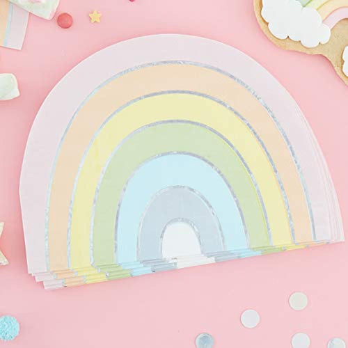 Ginger Ray Pastel Rainbow Shaped Foiled Paper Napkin- 16 Pack - Pastel Party - iBuy Africa