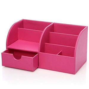 KINGFOM PU Leather Office Desk Organiser Tidy Pen Pencil Pots Stationery Storage Box Desk Accessories Pink - iBuy Africa