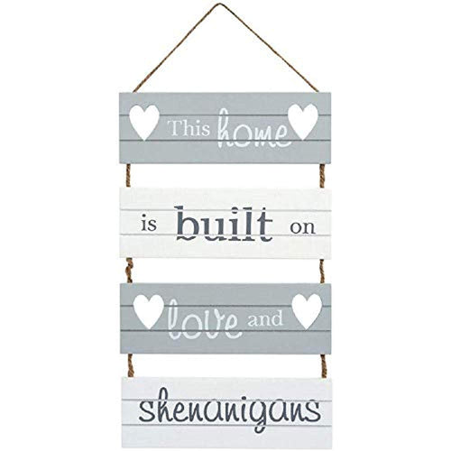 'This Home is Built on Love and Shenanigans' Hanging Slatted Sign - iBuy Africa