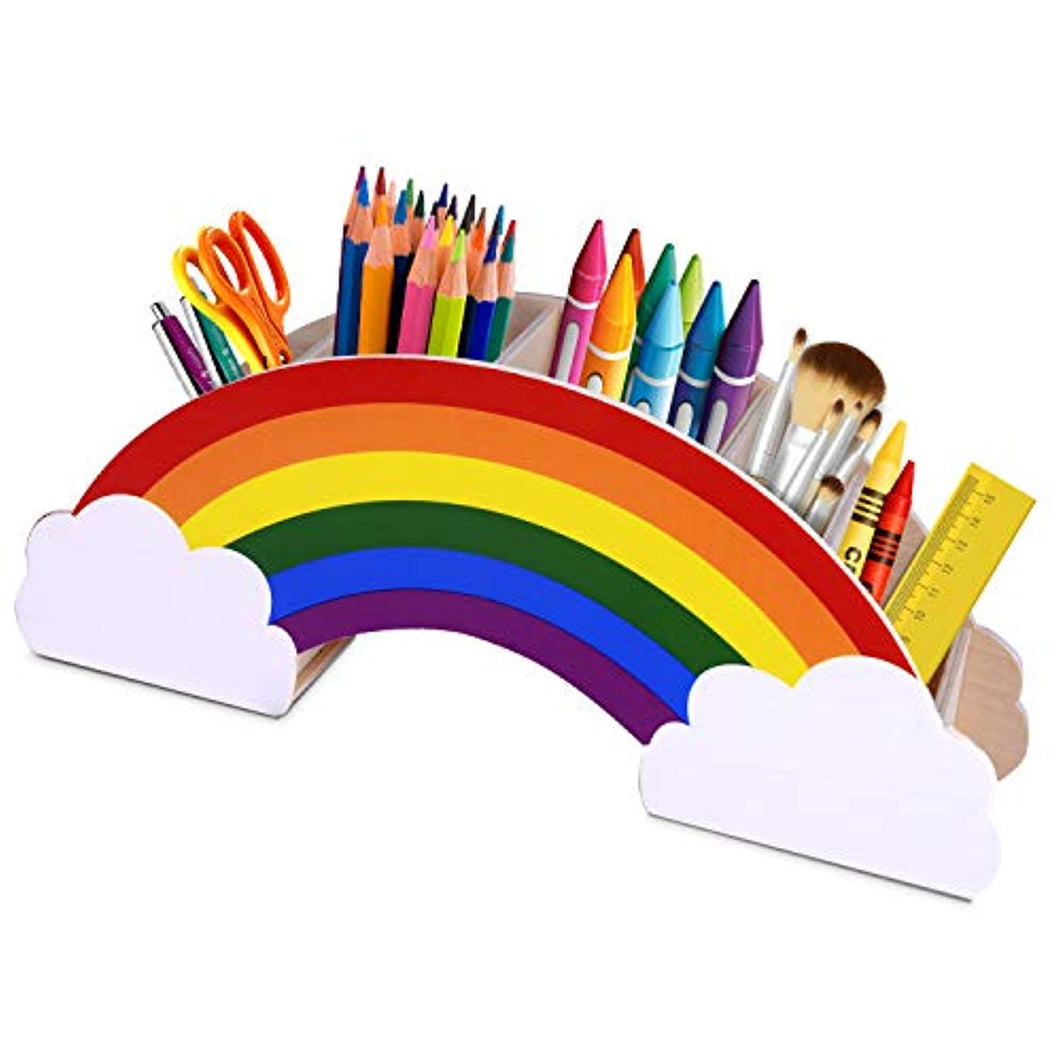 Gamenote Wooden Pen Holder & Pencil Holders - Rainbow Supply Caddy Desk Organizer for Office Supplies Makeup Brush Classroom Organization for Women & Kids - iBuy Africa