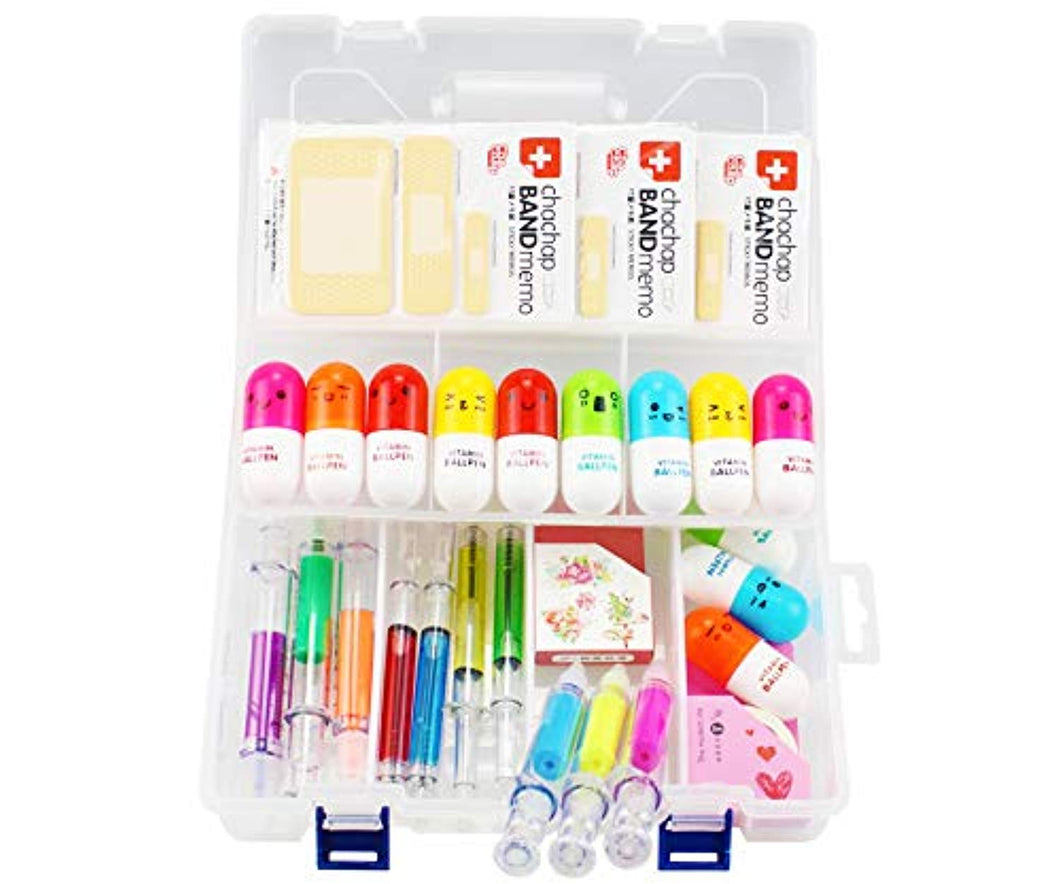 Student Nurse Gifts,6 Highlighter Syringe Pens,4 Syringe Ballpoint Pens,12 Novelty Capsule Pens,3 Band Aid Sticky Notes,1 Translucent Box and 2 Cute Decoration Tapes,Suit for Vet Nurse Doctor Gift - iBuy Africa