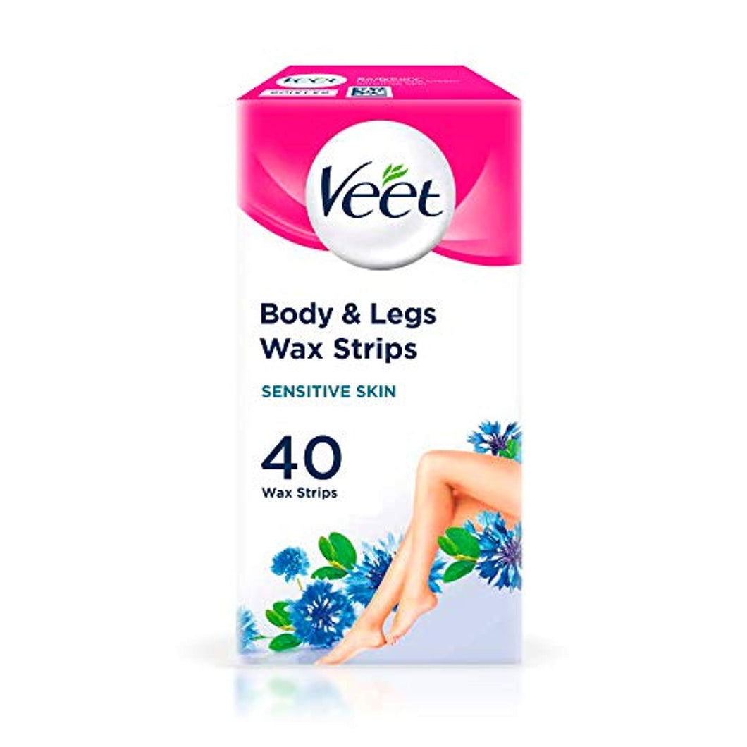 Veet Wax Strips for Sensitive Skin for Body and Legs, 20 Double Sided Strips, Pack of 40 - iBuy Africa