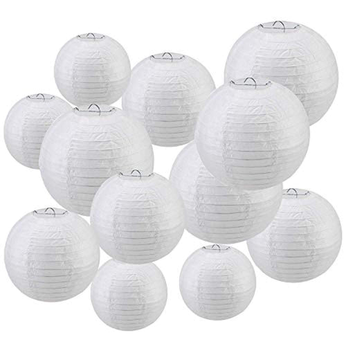 Niceclub Hanging Round White Paper Lanterns of Assorted Sizes for Wedding Party Birthday Decoration - Perfect for DIY (12 Pack) - iBuy Africa