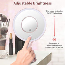 "Load image into Gallery viewer, Morstone Makeup Mirror, 8.2"" Large 1X Vanity LED Makeup Mirror with Lights, Dimmable Touch Screen, Three Lighting Colors, 45 Degree Rotation, USB Power Table Mirror with 5X Small Magnifying Mirror - iBuy Africa"