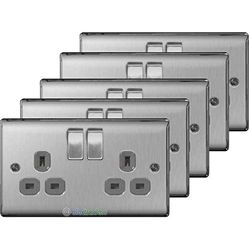 BG Electrical nbs22g/5 5 x Twin 13 A Switch Socket Outlets - Brushed Steel - iBuy Africa